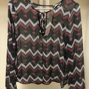 Tops - Black, maroon + white long sleeve top